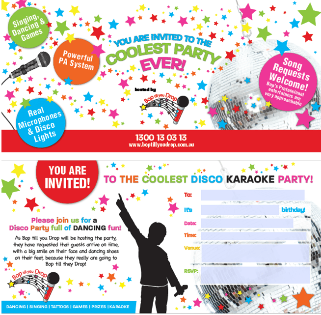 Childrens birthday invitations sydney bop till you drop invitations sydney check out our free designer invitations for your childs disco karaoke birthday party filmwisefo